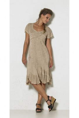 Dress stone wash twist, lace up back and beautiful embroidery