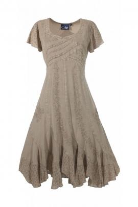 Dress stone wash twist, lace up back and beautiful embroidery