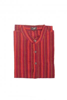Camiseta hombre de algodón a rayas de manga larga de nepal