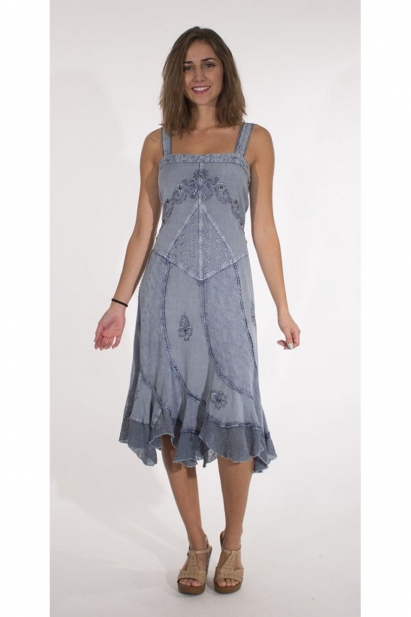 Robe mi-long stone wash wide shoulder straps and beautiful embroidery