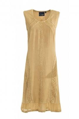 Sleeveless dress stone wash asymmetric band, beautiful embroidery