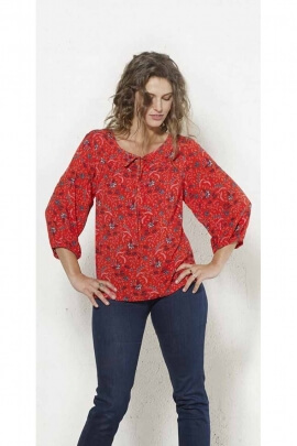 Blouse fluid 3/4 sleeve printed bouquet spring