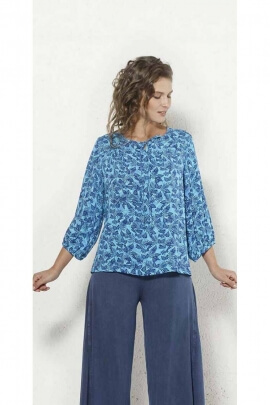 Blouse fluid 3/4 sleeves loose cut and lace to tie at the