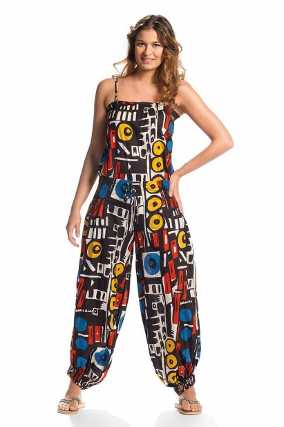 Overalls cotton printed full trend was