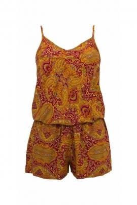 Indian sari printed short jumpsuit