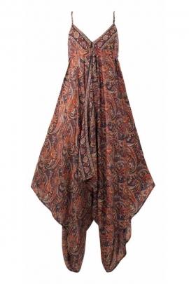 Loose long playsuit Indian sari print