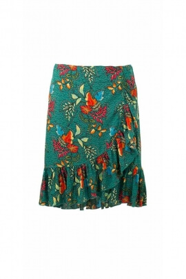 Short wrap skirt in bohemian print viscose