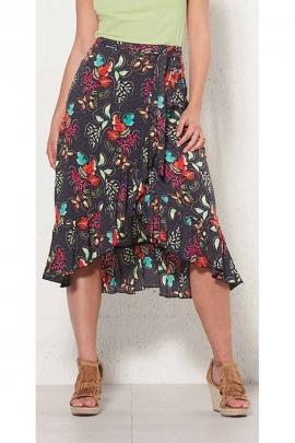 Bohemian print viscose long wrap skirt