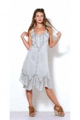 Vestido midi estilo bohemio lavado a la piedra sin mangas