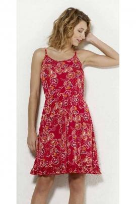 Vestido de verano sencillo y cómodo impreso flores de primavera