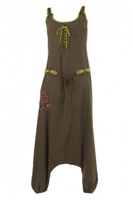 sarouel pants suit sleeveless embroidered cotton