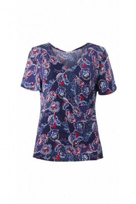 V-neck T-shirt with side draped cut, spring flowers print