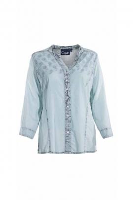 Romantic English embroidery 3/4 sleeve shirt