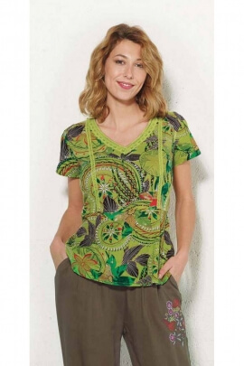 Exotic print short sleeve cotton blouse