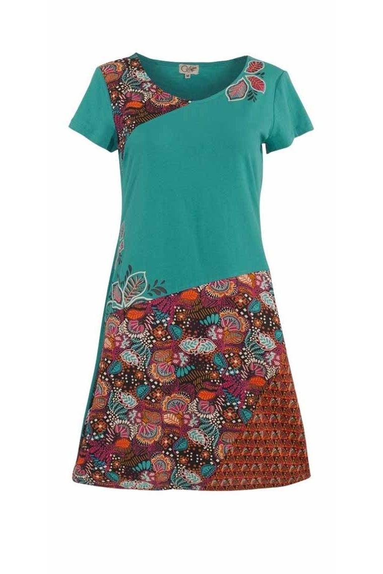 Dress cotton, elastane pieces fabrics asymmetrical