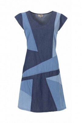 Robe manches courtes tissus jean asymétrique