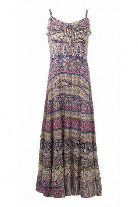 Long dress fleurette with thin straps and Jane print