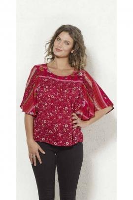 Bohemian viscose crepe shirt, short sleeves