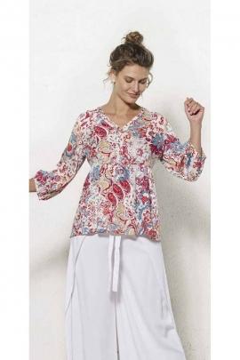 Vintage blouse, 3/4 sleeves prints Romania