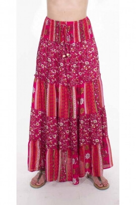 Indian skirt, long with ruffles in printed viscose