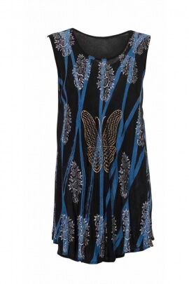 Mini sleeveless tunic dress in Viscose crepe