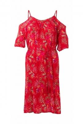 Original viscose dress, off-the-shoulder Cluster print