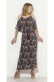 Long dress in viscose, off-the-shoulder Cluster print