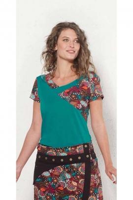 Short sleeve T-shirt, patchwork pieces in cotton elastane