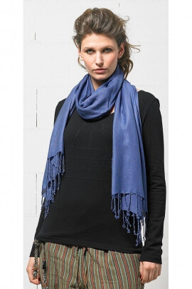 Foulard viscose uni franges tweel