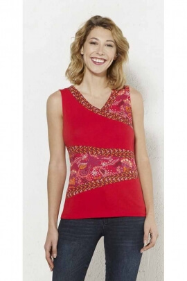 T-shirt tank top in cotton elastane with patchwork pieces