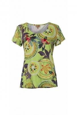Original T-shirt, tropical print in polyester elastane