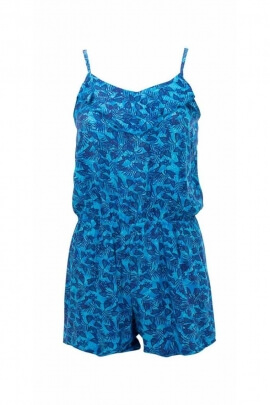 Canary printed viscose short jumpsuit