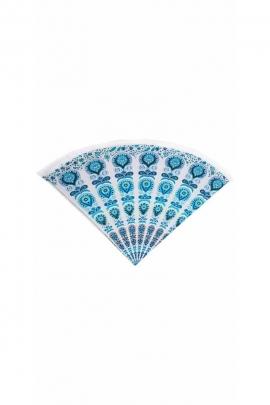 Peacock printed cotton round beach tablecloth