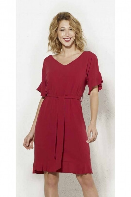 Natural dress in 88% Viscose and 12% Linen with short sleeves