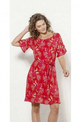 Short viscose dress with floral motifs and tie belt