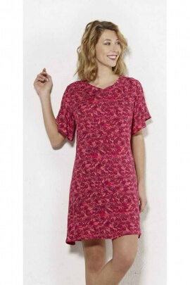 Short dress in flowing viscose and short sleeves
