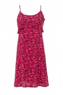 Short dress in flowing viscose and thin straps printed Canary