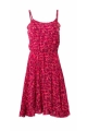 Trendy short dress with thin straps, exotic pattern