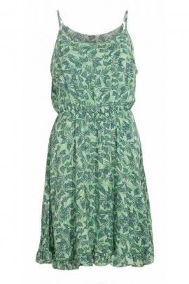 Vestido corto de moda con tirantes finos, patrón exótico