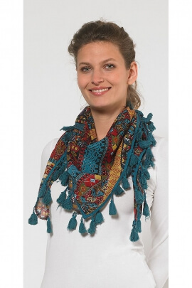 Original scarf printed Tribal fringes tassels