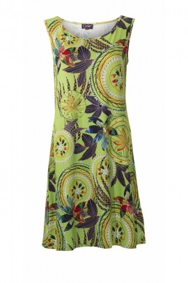 Short dress with paradisiacal patterns, stretch fabric