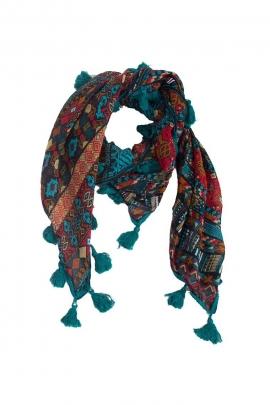Bufanda original impreso Tribales flecos, pompones