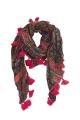 Original scarf printed Tribal fringes tassels