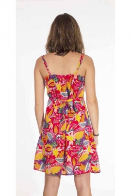 Viscose dress with 2 crossed ruffles on the chest, exotic pattern
