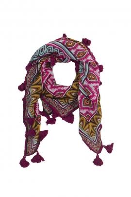Original printed scarf fringes tassels