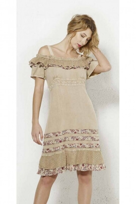 Romantic stone wash dress with off the shoulder