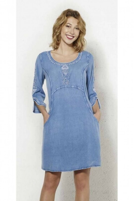 Blue viscose dress embroidered and white topstitched and 3/4 sleeves
