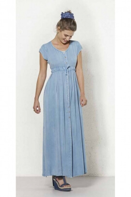 Blue denim long dress with button on the front metal buttons