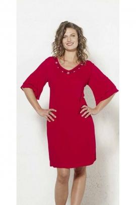 Special short heat wave dress in plain viscose crepe