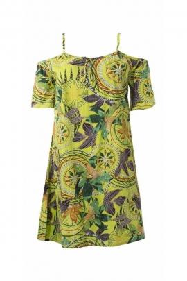 Off the shoulder Tahitian printed cotton short dress